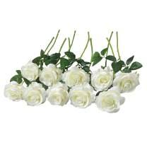 DALAMODA 15pcs Artificial Silk Roses Flowers-DIY Bridal Bouquet Flower or DIY Any Home Garden Decoration(White Cream)