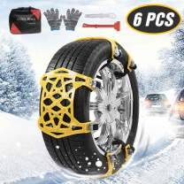 Car Chains - Car Anti Slip Tire Traction Chains for All Season, Universal Adjustable Anti-Skid Chains for Light Truck/SUV/ATV on Sand Road and Mud Road, Set of 6 (Tire Width 165-275mm/6.5-10.8'')