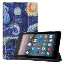 Folio Case for All-New Amazon Fire 7 Tablet (9th Gen/7th Gen, 2019/2017 Release),DETUOSI【Auto Sleep/Wake】 Ultra Slim Smart Leather Cover, Universal Kindle Fire 7 Case 2019/2017,9th/7th Gen#Starry Sky
