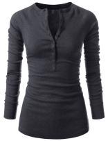NEARKIN Slim Long Sleeve V Neck Henley Shirts Asymmetrical Tunic Tops for Women