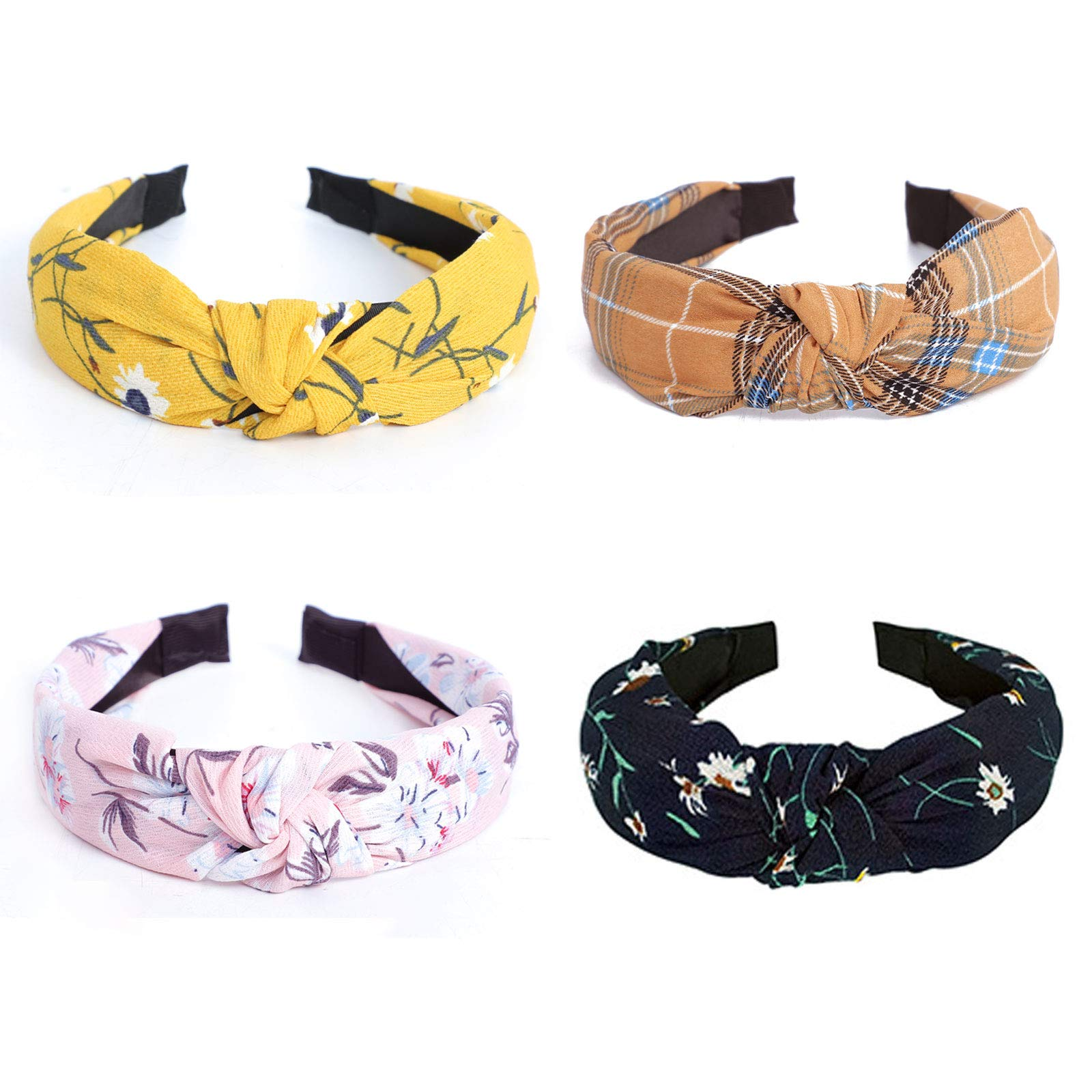 G&T Knotted Headbands for Girls Fashion Headbands for Women Floral Hair Bands Twist Boho Headbands Cute Hair Hoops Hair Accessories for Washing Face (4 Pcs)