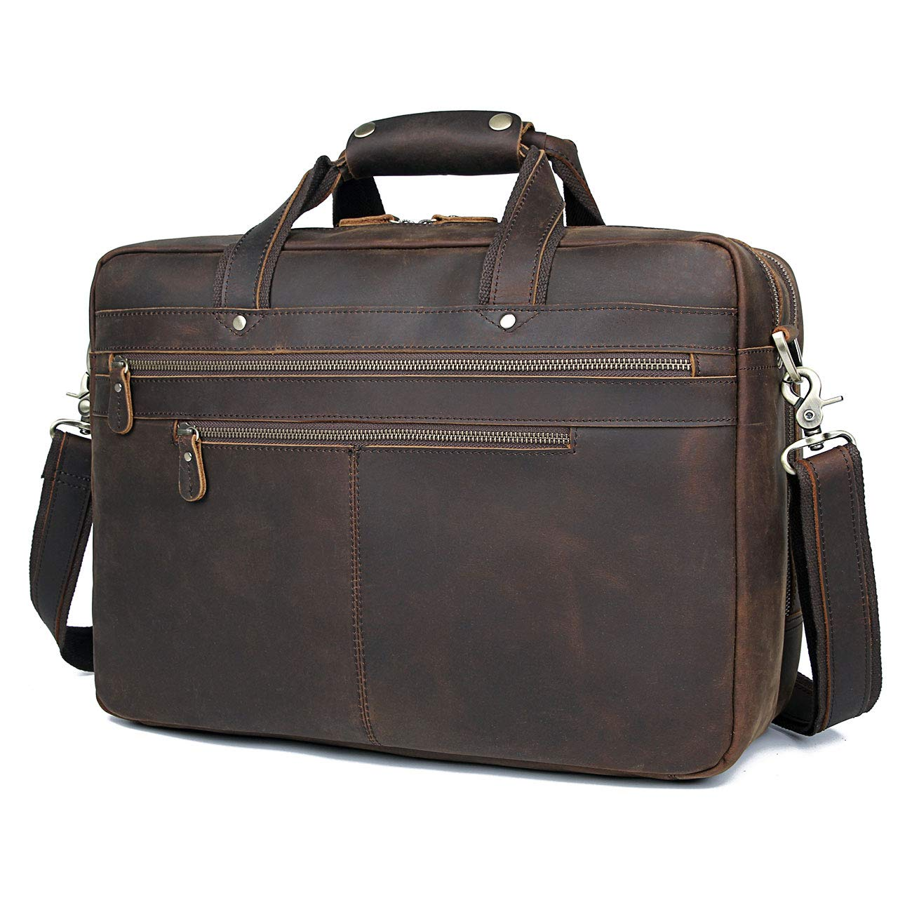 """Polare Real Genuine Leather 17"""" Laptop Case Professional Briefcase Business Bag for Men"""