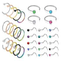 MODRSA Nose Rings Hoop 18g Septum Ring L Shape Nose Studs Screw Surgical Stainless Steel Thin Cartilage Helix Tragus Earrings Hoops C Shape High Nostril Piercing Jewelry Pack