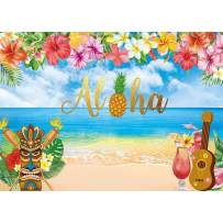 Allenjoy 7x5ft Summer Aloha Luau Party Backdrop for Tropical Hawaiian Beach Photography Background Sea Palm Birthday Musical Party Baby Shower Banner Decoration Cake Table Photo Studio Booth Props