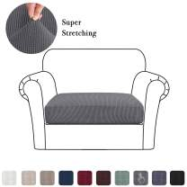 High Stretch Seat Cushion Cover Sofa Cushion Furniture Protector fot Sofa Seat Sofa Slipcover Sofa Cover Soft Flexibility with Elastic Bottom (1 Piece Cushion Covers, Charcoal Gray)