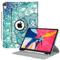 """Fintie Rotating Case with Built-in Pencil Holder for iPad Pro 11"""" 2018 [Support Apple Pencil 2nd Gen Charging Mode] - 360 Degree Rotating Stand Protective Cover with Auto Sleep/Wake, Emerald Illusions"""