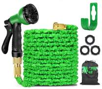 """100ft Expandable Garden Hose, Expandable Water Hose with 8 Function Nozzle, 3/4"""" Solid Brass Connectors, 3-Layers Latex Extra Strength Fabric, for Lawn/Pet/Car/Boat Wash (100FT, Green)"""