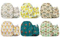 Mama Koala One Size Baby Washable Reusable Pocket Cloth Diapers, 6 Pack Nappies with 6 One Size Microfiber Inserts (Adorable Sloths)