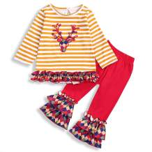 Christmas Outfit Toddler Baby Girls Long Sleeve Deer Printed Tops Dress Pants Clothes Xmas Sets
