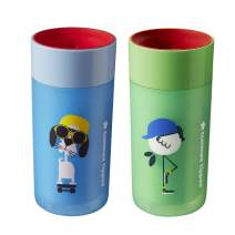 Tommee Tippee Spill-Proof Insulated Easiflow 360 Degree Cup, Boy - 12M+, 2ct, Lt. Blue & Green