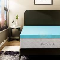 BedsPick Memory Foam Mattress Topper Twin XL 2 Inch Gel Infused Soft Foam Mattress Pad College Dorm Extra Long XL Single Bed Toppers