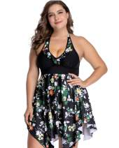 sanatty Women's Plus Size Swimsuit Floral Printed Plus Swimwear Tankini Two Pieces Swimdress 2XL-6XL
