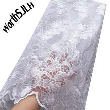 WorthSJLH Tulle Lace Fabric 5 Yards 2019 Latest Nigerian Lace Embroidery Bridal Lace Fabric with Beads and Rhinestones J854 (White)