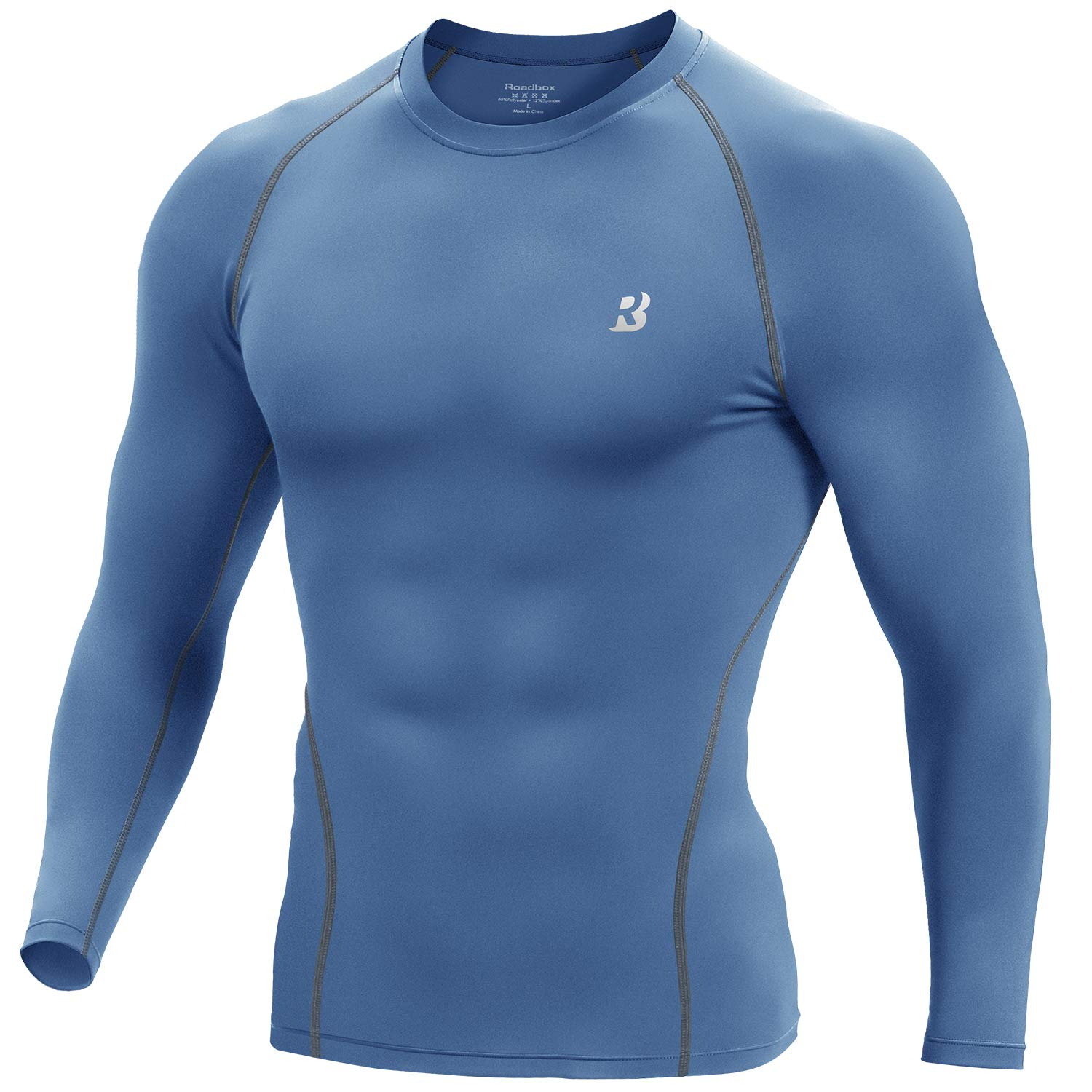Roadbox Men's Long Sleeve Compression Shirt - Cool Dry Athletic Baselayer Workout T-Shirts