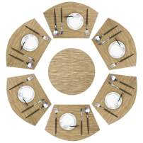 pigchcy Wedge Shape Placemat Set of 6 Placemats and Round Table Mats Washable Vinyl Placemats Heat-Resistant Table Mats (Camel Tan)