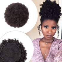 Afro Kinky Curly Puff Ponytail Human Hair Large Drawstring Bun for African American Black Women 6 Inch Updo Hairpiece with Combs Short Pigtail Donut Scrunchy #1B Natural Black