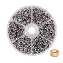 PandaHall Elite About 1000 Pcs 304 Stainless Steel Open Jump Rings O Ring Diameter 4mm 5mm 6mm 8mm 9mm 10mm Wire 18-Gauge for Jewelry Making