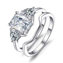 JewelryPalace Wedding Rings Bands Solitaire Engagement Rings For Women Anniversary Promise Ring Bridal Sets 1.3ct Emerald Cut 3 Stones Cubic Zirconia 925 Sterling Silver Ring Sets