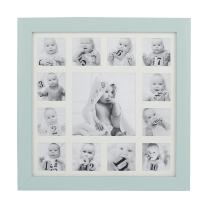 """Beriwinkle Baby Photo 13 Opening""""My First Year"""" Collage Frame for Newborn Girls or Boys, Unique Baby Shower Gift for Registry, Memorable Keepsake Frame for Room Wall or Nursery Décor, Mint"""