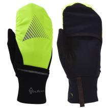 TrailHeads Men's Touchscreen Gloves with Reflective Waterproof Mitten Shell - Convertible Running gloves