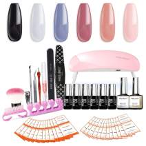 Gel Nail Starter Kit with UV Light - 6W Mini UV LED Nail Lamp, 6 PCS Color Gel Nail Polish 7ml Tiny Bottles, 10ml Base Top Coat, and Manicure Tools Set - Soak Off Portable Kit by Modelones