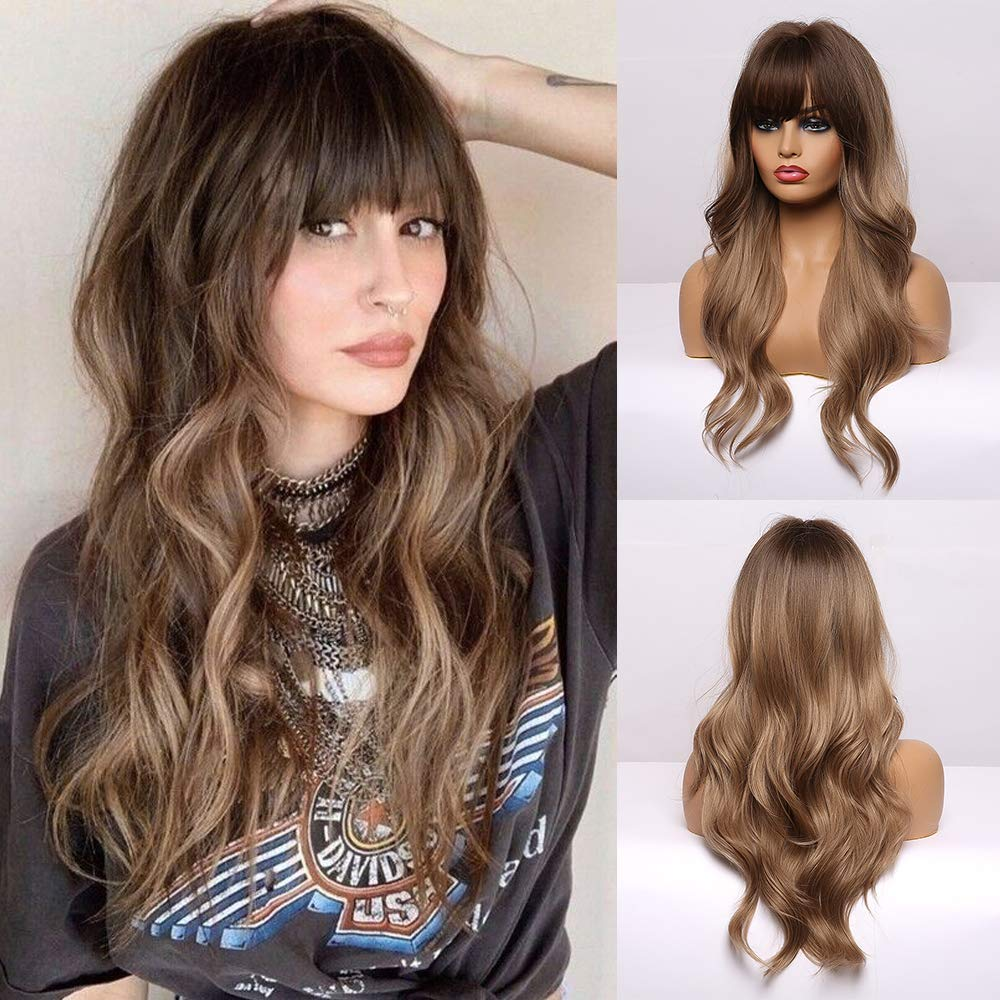 BOGSEA Long Wavy Wigs with Bangs Ombre Light Ash Brown Wigs for Women Synthetic Wigs for Daily Party Cosplay Wear 24 Inch