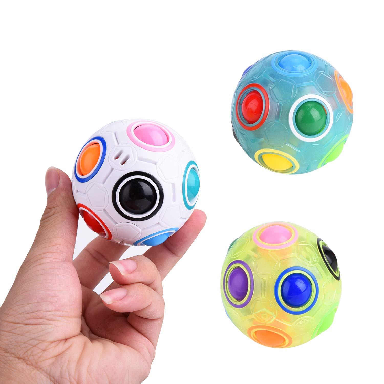 JCREN Rainbow Puzzle Ball Fidget Cube Toys Magic Rainbow Ball Puzzle Bundle Stress Fidget Ball Brain Teaser Game Fidget Toys Birthday Gift for Toddler Kids Boys Girls(3 Pack)