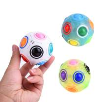 JCREN Rainbow Puzzle Ball Fidget Cube Toys Magic Rainbow Ball Puzzle Bundle Stress Fidget Ball Brain Teaser Game Fidget Toys Birthday Gift for Toddler Kids Boys Girls(3 Pack)