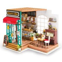 Hands Craft, DG109   DIY 3D Wooden Miniature Dollhouse Build Your own Crafting Kit with Real LED Lights, Educational STEM Hobby Project for Kids (14) and Adults   (Simon's Coffee)
