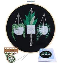 Full Range of Embroidery Starter Kit with Pattern, Kissbuty Cross Stitch Kit Including Stamped Embroidery Cloth with Pattern, Bamboo Embroidery Hoop, Color Threads and Tool Kit (Hanging Plants)