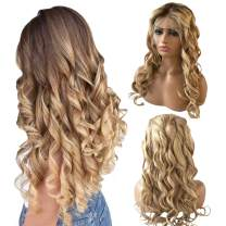 Lace Front Human Hair Wigs Natural Wavy Mix Color Brown to Blonde Long Loose Curly Wig Deep Parting 13x6 Brazilian Virgin Hair Wigs Full Head for Black Women 14inch