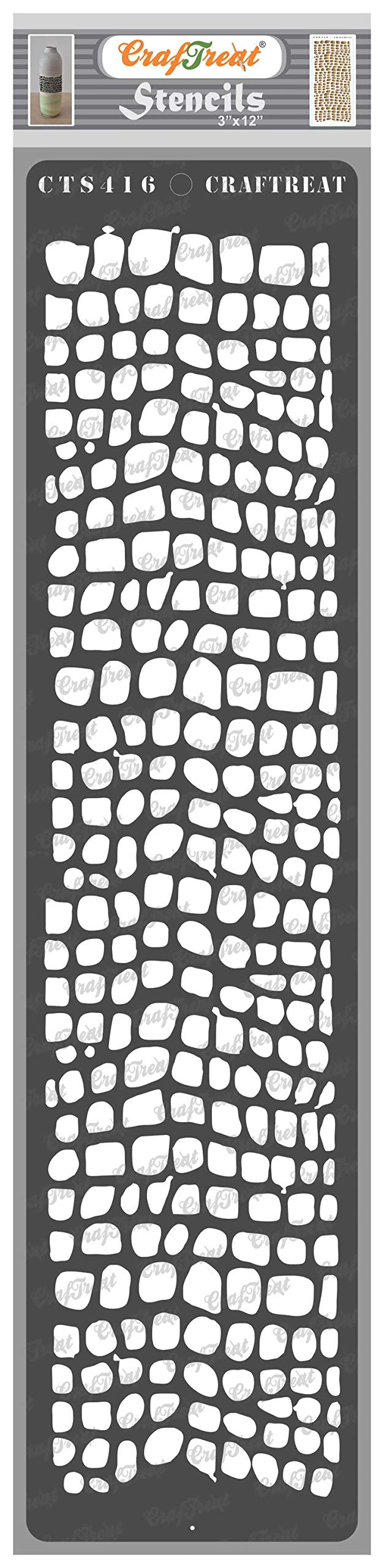 CrafTreat Snake Skin Stencils for Painting on Wood, Canvas, Paper, Fabric, Floor, Wall and Tile - Snake Skin - 3x12 Inches - Reusable DIY Art and Craft Stencils for Borders - Animal Skin Stencil