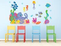 Sunny Decals Ocean Fabric Wall Decal Set, Standard