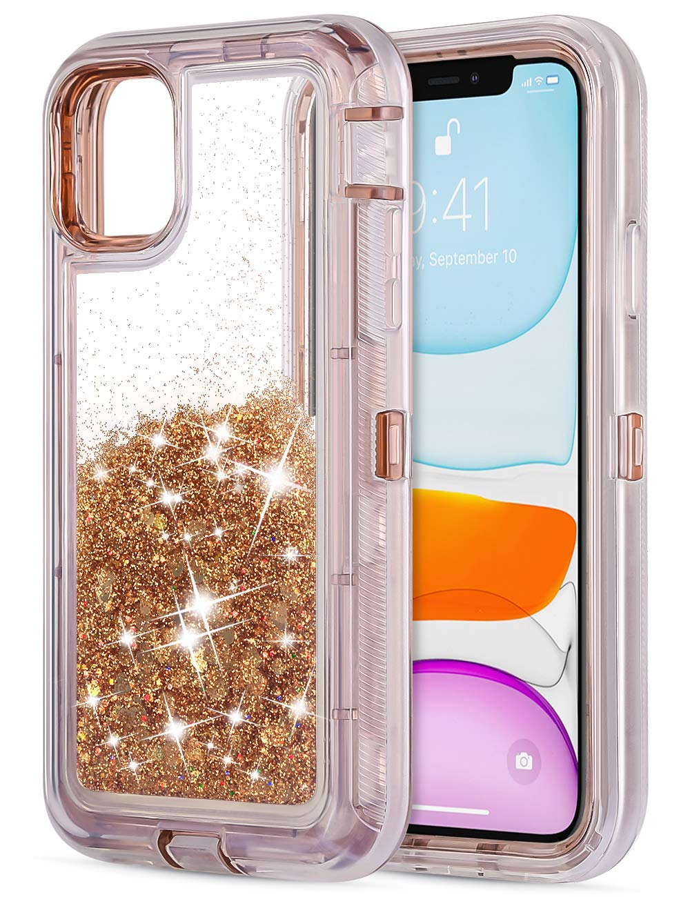 Jiunai iPhone 11 Case, iPhone 11 Glitter Case Quicksand Luxury Flowing Liquid Cute Fashion Protective Armor Shockproof Non Slip Bumper Dual Layer Hybrid Cover Case for iPhone 11 6.1 inches 2019 Gold