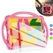 TopEsct iPad 7th Generation Case for Kids,with Tempered Glass Screen Protector and Strap,Premium Silicone Shockproof Apple New ipad 10.2 2019 Case Cover with Kickstand and Pencil Holder. (Pink)