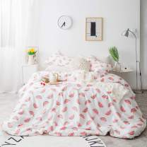 SUSYBAO Duvet Cover Set Queen Size Watermelon Print Bedding Sets 3 Piece 100% Natural Cotton 1 Fruit Pattern Duvet Cover with Zipper Ties 2 Pillow Cases Hotel Quality Soft Cute Breathable Comfortable