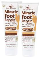 Miracle Foot Repair Cream 2-Pack 8 Ounce Tubes with 60% Organic UltraAloe | for Dry, Cracked, Itchy feet | Fast-Acting | Super-Moisturizing | Helps Athlete's Foot | Have Soft, Baby Feet Once More