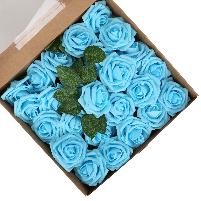 LIVILAN Light Blue Roses Artificial Rose Flowers with Stems Centerpieces Arrangements for DIY Wedding Bouquets Baby Shower Home Decor, 25 pcs