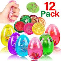 12 PCS Slime Eggs Easter Slime Party Favor for Kids Colorful Slime Kit Crystal & Fruit Fluffy Stretchy Non-Sticky Putty Boys Girls Easter Basket Stuffer Gift Stress Relief Ball Toys