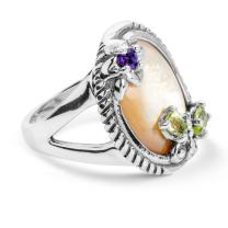 Carolyn Pollack Sterling Silver Gold Mother of Pearl, Purple Amethyst and Green Peridot Gemstone Butterfly Flower Ring Size 06