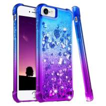 """Ruky iPhone 6 6S 7 8 Case, iPhone SE 2020 Case, iPhone 6s Glitter Case, Gradient Quicksand Series Bling Flowing Liquid Floating Girls Women Phone Case for iPhone 6/6s/7/8/SE 2020 4.7"""" (Blue Purple)"""