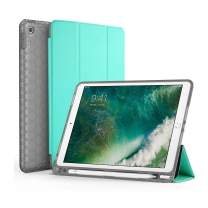 SWEES Compatible for iPad 9.7 2018/2017 Case with Pencil Holder, Shockproof Durable Smart Cover Leather Case with Built-in Pencil Holder Compatible for iPad 9.7 inch 6th/5th Generation, Mint Green