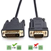 CABLEDECONN Active DVI to VGA, 6FT DVI 24+1 DVI-D M to VGA Male with Chip Active Adapter Converter Cable for PC DVD Monitor HDTV