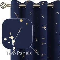 BGment Room Darkening Curtains for Bedroom, Golden Dots Patterned Thermal Insulated Blackout Curtains for Living Room and Nursery, Set of 2 Panels (Each 52 x 45 Inch, Navy)