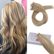 Moresoo 24inch Tape In Skin Weft Remy Human Hair Extensions Tape Hair Extensions Human Hair Glue in Hair Extensions Color Medium Brown #6 Mixed with #60 Platinum Blonde 20PCS 50G Real Human PU Hair