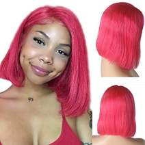 Lace Front Bob Short Brazilian Human Hair Wigs Real Remy Hair 13x4 Lace Frontal Bob Wigs for Black Women Pre Plucked Bleached Knots Glueless Middle Part Silky Straight 180% Density Rose 12 Inch