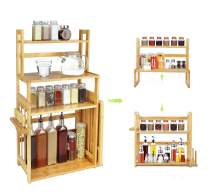 Bamboo Spice Rack ,Bamboo shelf with 4 Detachable Tiers, Cabinet Spice Organizer for Bathroom or Kitchen