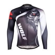 ILPALADINO Men's Cycling Jersey Long Sleeve Biking Shirts Breathable Wolf Black