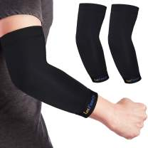 LotFancy 1 Pair Elbow Compression Sleeve for Tendonitis, Arthritis, Bursitis, Golf, Weightlifting, Copper Elbow Braces for Men, Women, Joint Support and Recovery, Size S