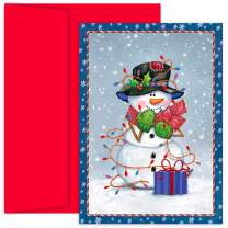 """Masterpiece Studios912200 Masterpiece Hollyville 18-Count Christmas Cards in Keepsake Box, Snowman Wrapped In Lights, Snowman Lights, 5.625 x 7.875"""""""